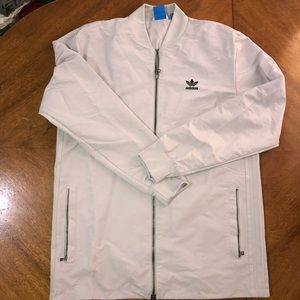 ADIDAS griege track jacket with green logo